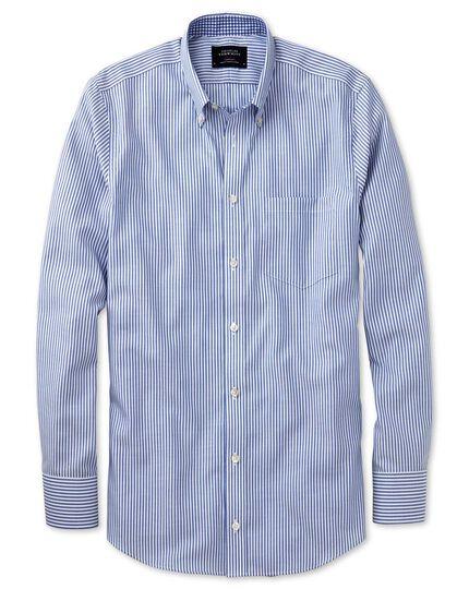 Slim fit button-down non-iron Oxford Bengal stripe royal blue shirt
