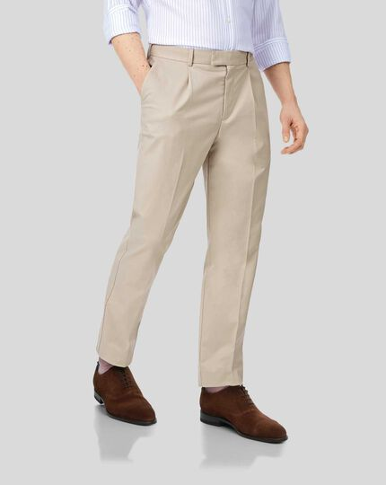 Single Pleat Non-Iron Chinos - Stone