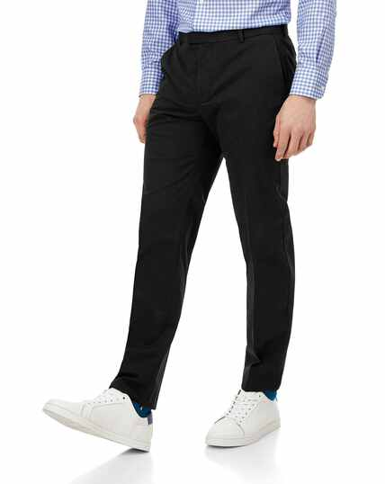 Black flat front non-iron chinos