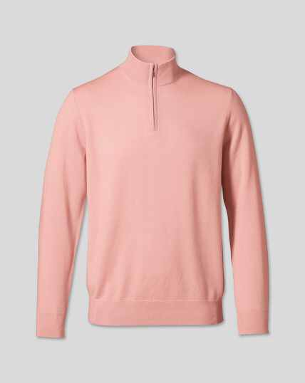 Merino Zip Neck Sweater - Light Pink