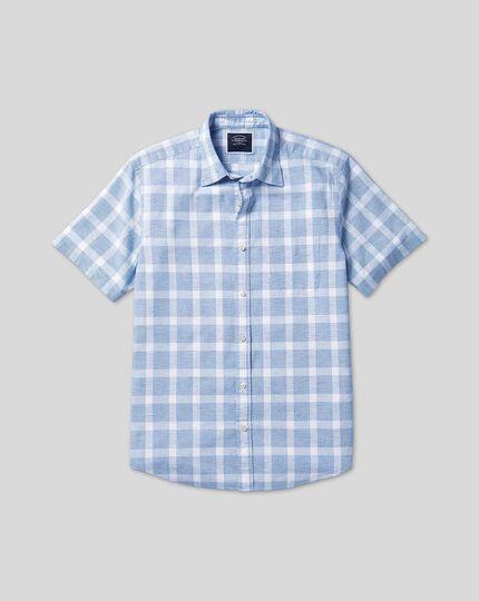 Classic Collar Short Sleeve Cotton Linen Check Shirt - Blue & White