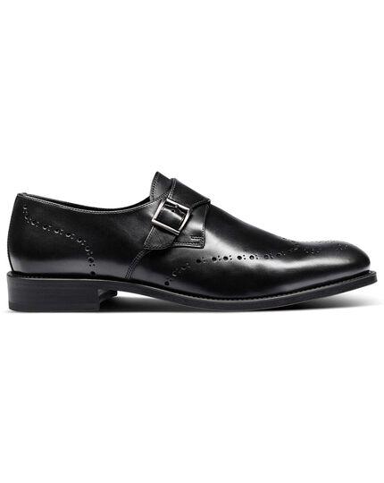 Black brogue monk shoes