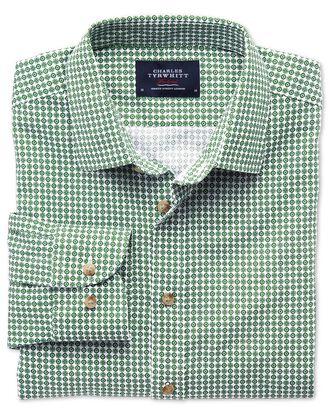 Classic fit green geometric print shirt