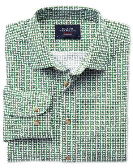 Chemise verte coupe droite à imprimé géométrique