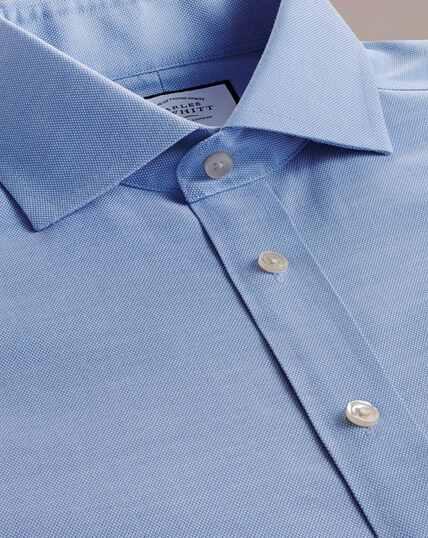 Bügelfreies Oxfordhemd aus Stretch-Baumwolle mit Haifischkragen - Mittelblau
