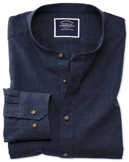 Slim fit navy collarless shirt
