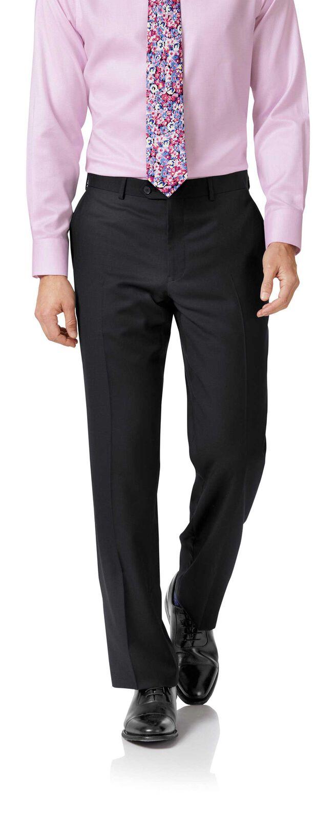 Black classic fit twill business suit