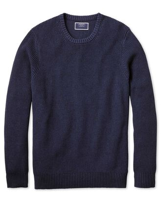 Navy crew neck pima cotton yak rib sweater