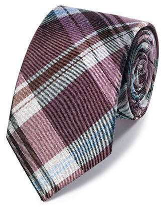 Pink tonal check silk classic tie