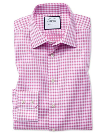 Classic fit non-iron gingham pink shirt