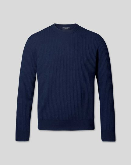 Wool Cotton Rib Sweater - Navy