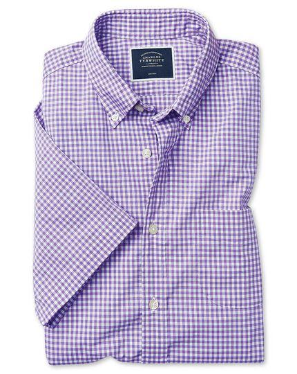 Chemise à manches courtes en popeline soft washed lilas à carreaux vichy coupe droite sans repassage