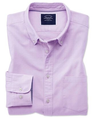 Slim fit lilac plain button-down washed Oxford shirt