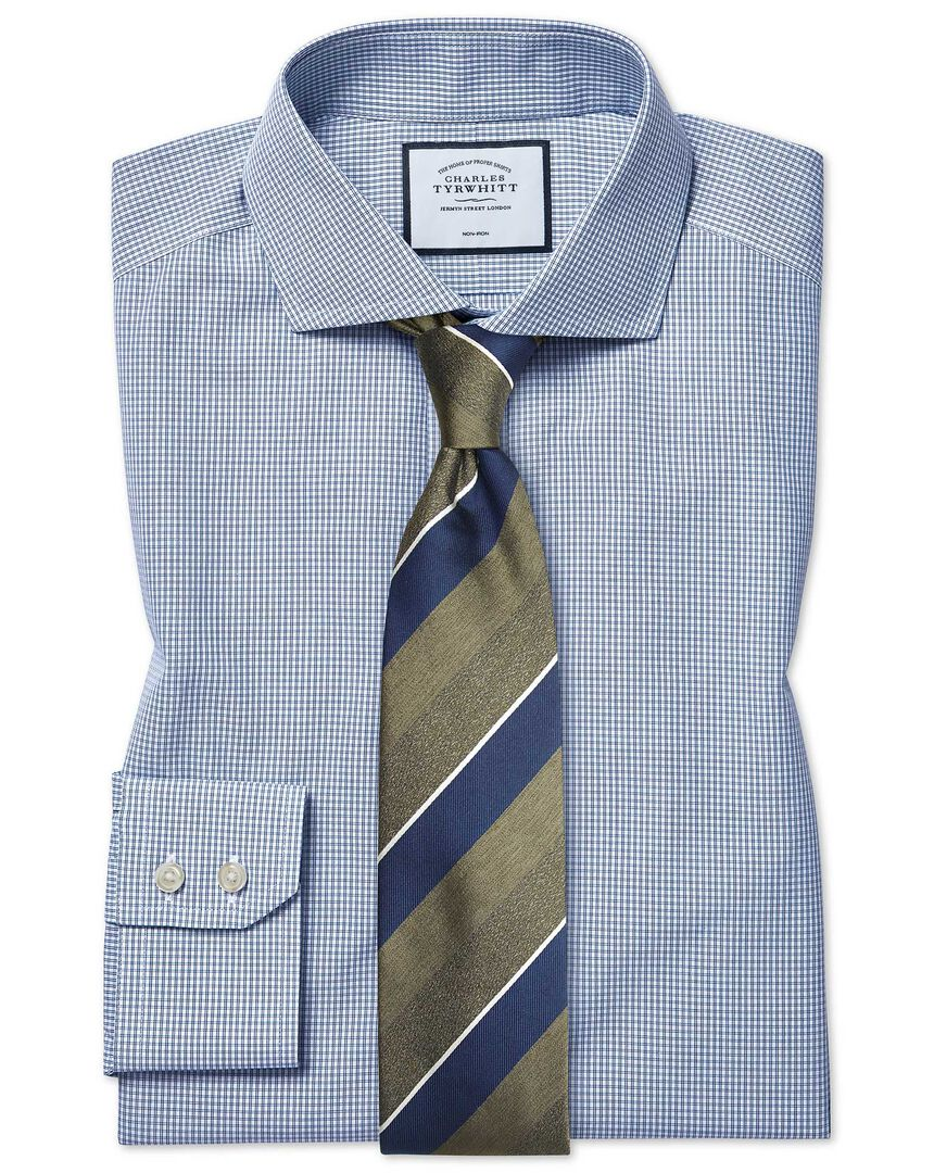Classic fit non-iron cutaway Tyrwhitt Cool poplin check blue shirt