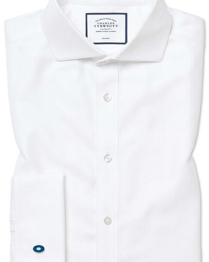 Slim fit non-iron white herringbone shirt