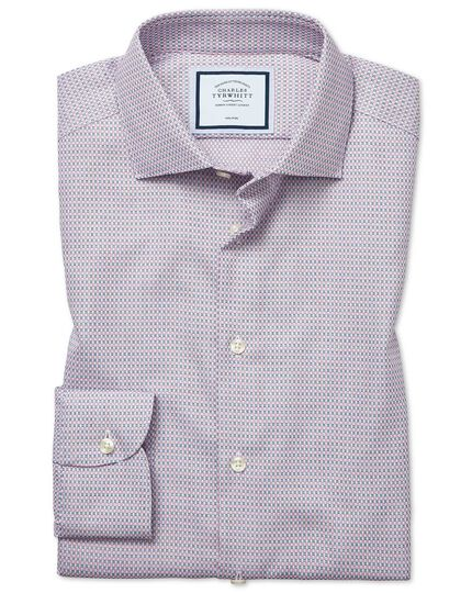 Slim fit non-iron natural stretch textures pink and navy shirt