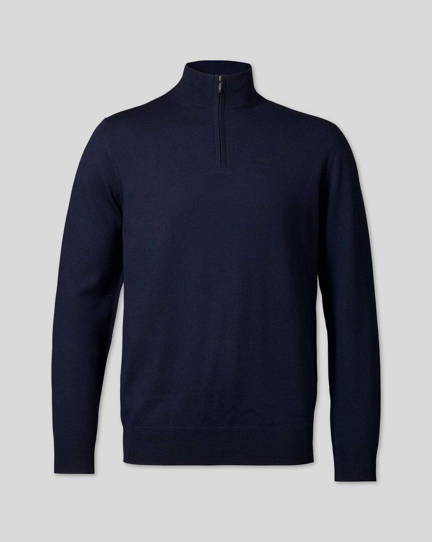 Merino Zip Neck Jumper - Navy