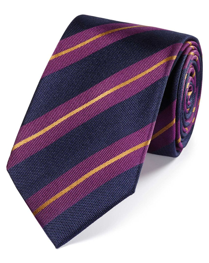 Pink and gold silk textured reppe stripe classic tie