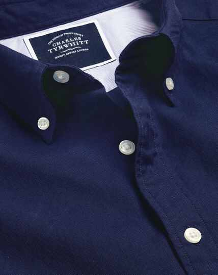 Button-Down Collar Washed Oxford Shirt - Royal Blue