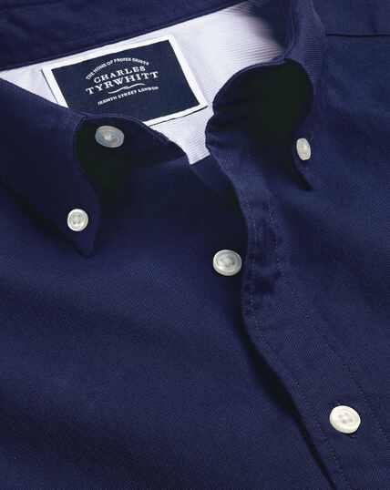Vorgewaschenes Oxfordhemd mit Button-down-Kragen - Königsblau