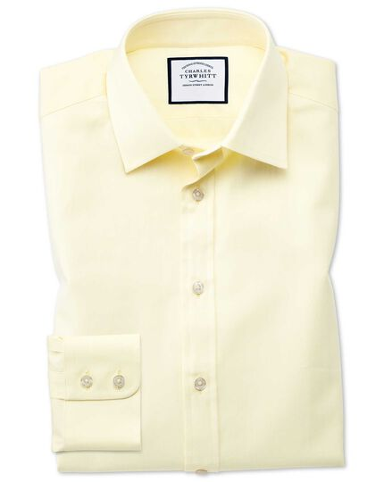 Classic fit fine herringbone yellow shirt