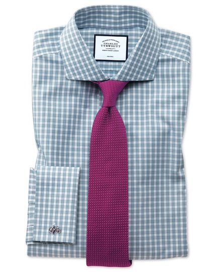 Non-Iron Twill Cut-Away Collar Gingham Shirt - Teal