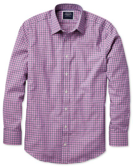 Classic fit non-iron pink and navy gingham Oxford shirt