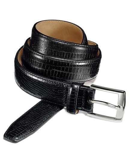 Black embossed croc belt