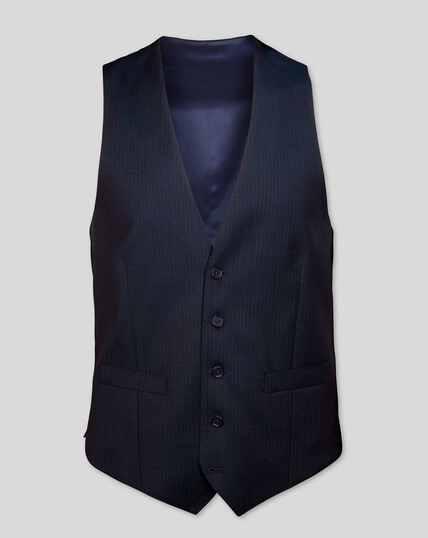 Stripe Birdseye Travel Suit Vest - Navy