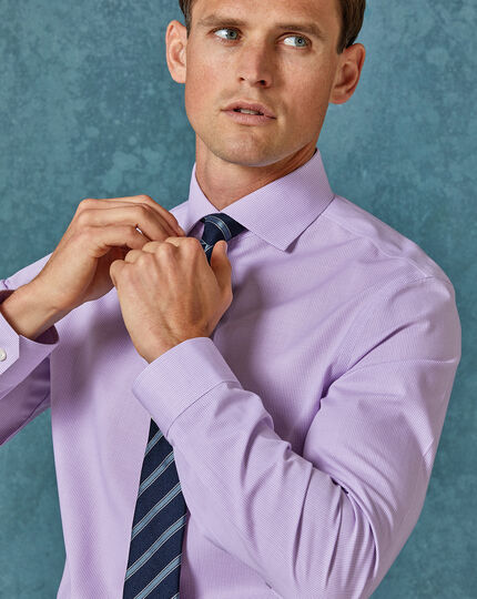 Super slim fit non-iron 4-way stretch lilac check shirt