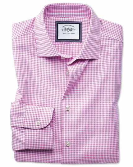 Classic fit semi-cutaway business casual non-iron modern textures pink and white spot shirt