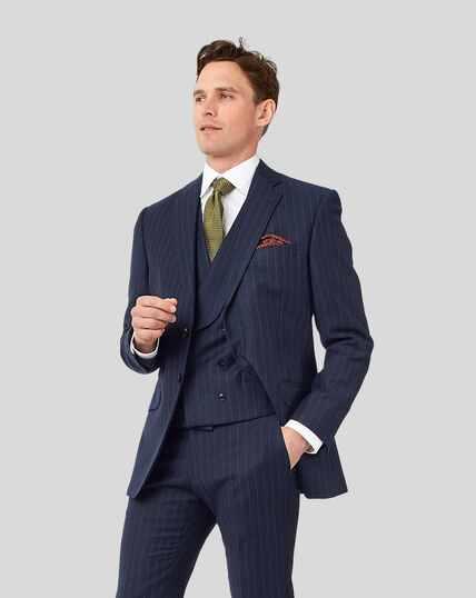 British Luxury Stripe Suit Jacket - Dark Blue