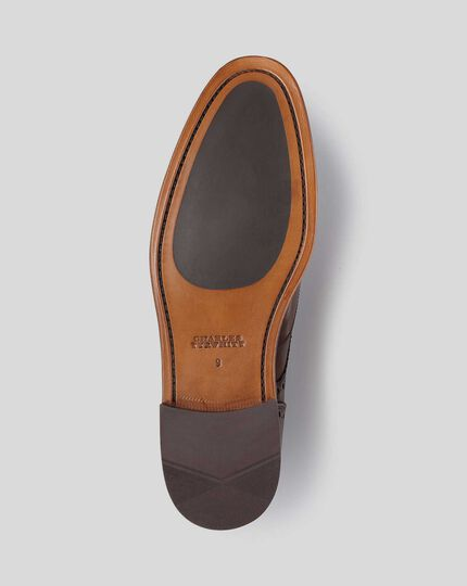 Flexible Sole Wing Tip Derby Shoe - Brown