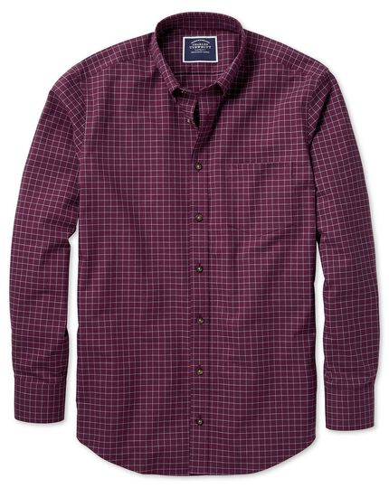 Extra slim fit non-iron berry check twill shirt