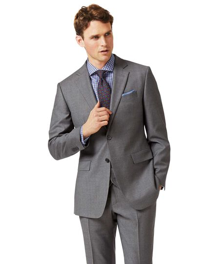 Grey slim fit twill business suit jacket