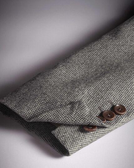 Slim fit grey puppytooth Italian wool flannel blazer