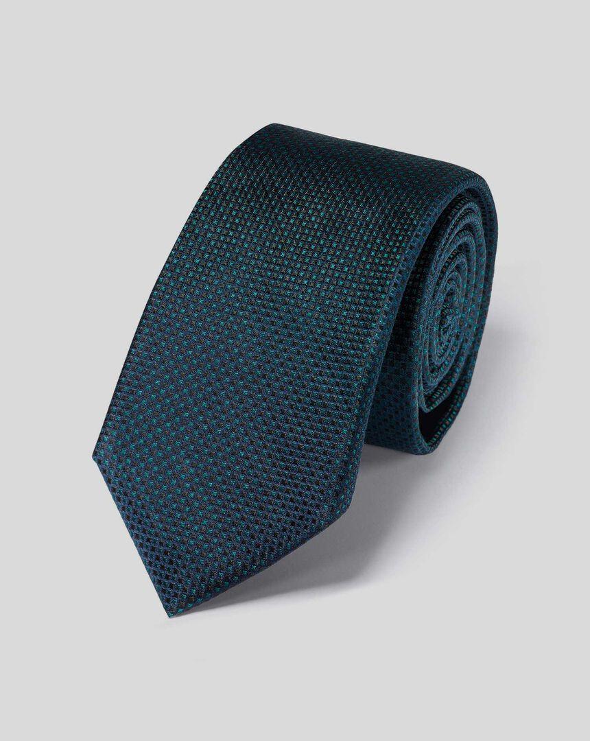 Schmutzabweisende schmale Krawatte aus Seide - Grün