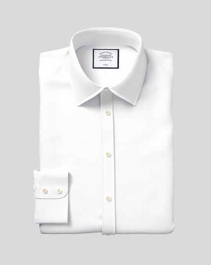 Bügelfreies Hemd mit Kent-Kragen und Mini-Fischgrätmuster - Weiß