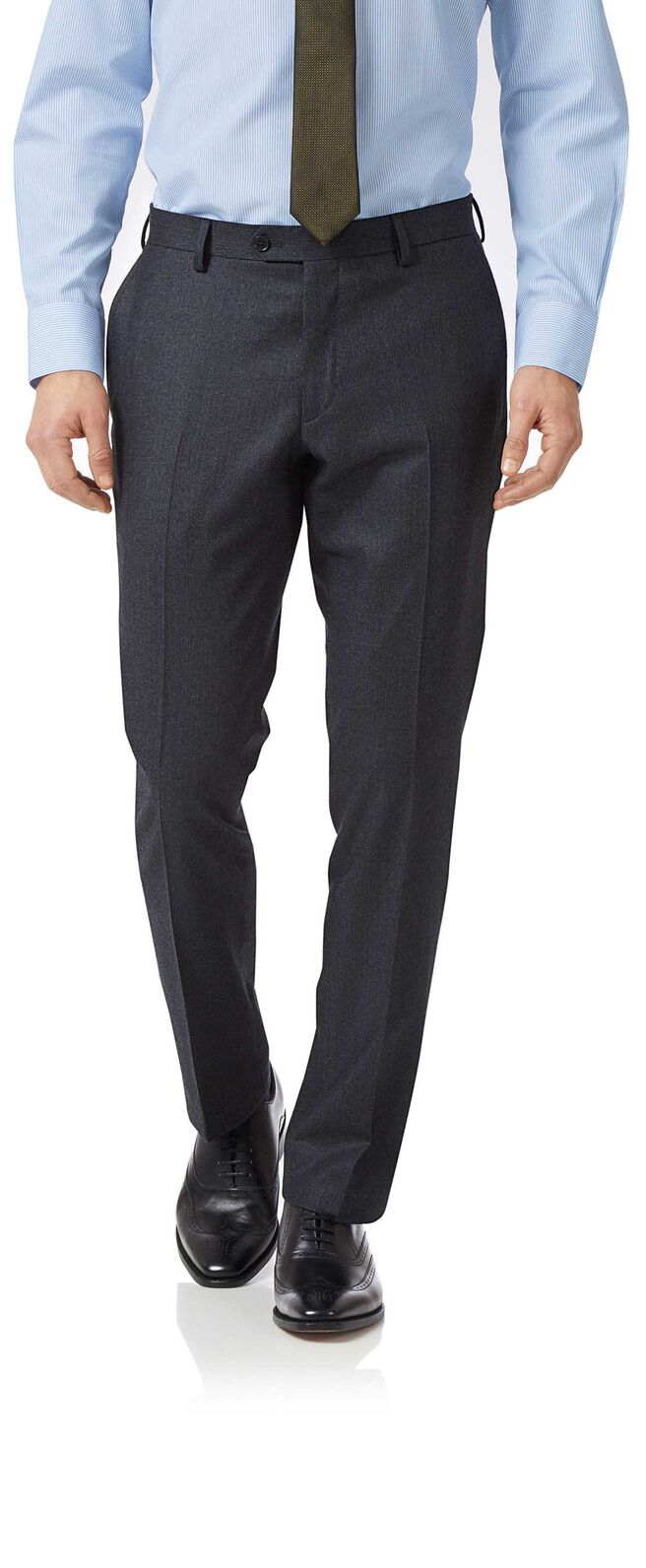 Charcoal and blue slim fit stripe flannel business suit