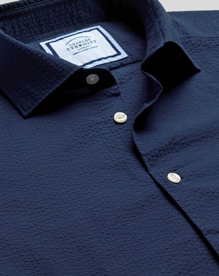 Business Casual Collar Cotton Seersucker With TENCEL™ Shirt - Navy