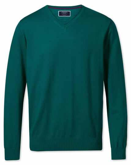 Teal merino wool v-neck jumper