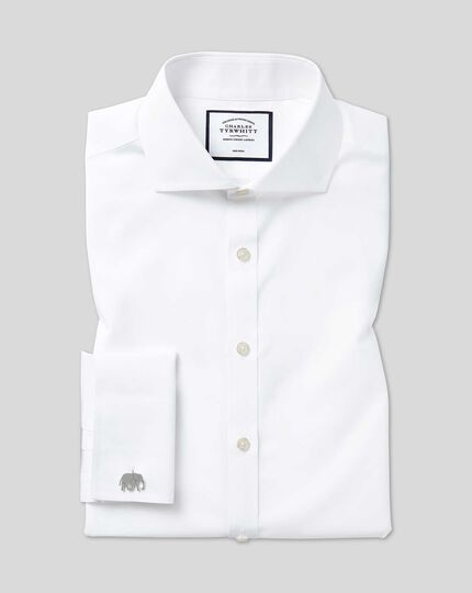 Cutaway Collar Non-Iron Poplin Shirt  - White