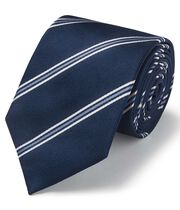Navy silk triple stripe classic tie