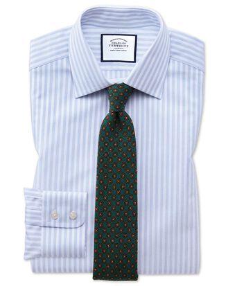 Slim fit sky blue dobby textured stripe shirt
