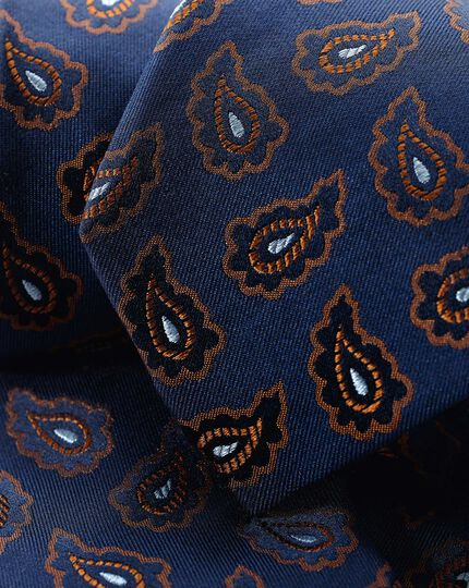 Silk Paisley Classic Tie - Navy & Orange