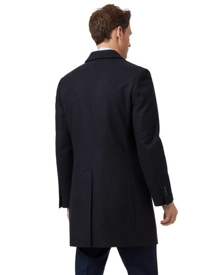 Navy wool and cashmere double breasted Epsom overcoat