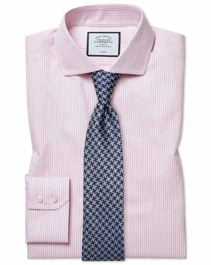 Slim fit cutaway non-iron soft twill pink stripe shirt