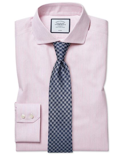 Spread Non-Iron Soft Twill Stripe Shirt - Pink
