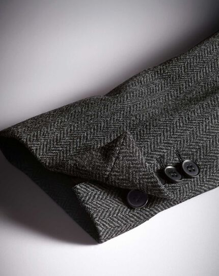 Slim fit charcoal herringbone wool jacket