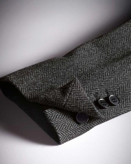 Slim Fit Sakko aus Wolle mit Fischgrätmuster in Anthrazit